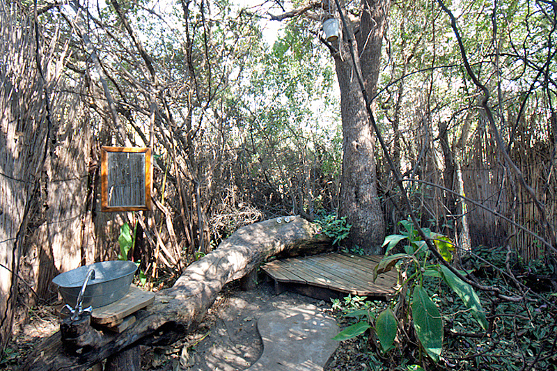 Outdoor shower, Ngepi Camp, Caprivi, Namibia