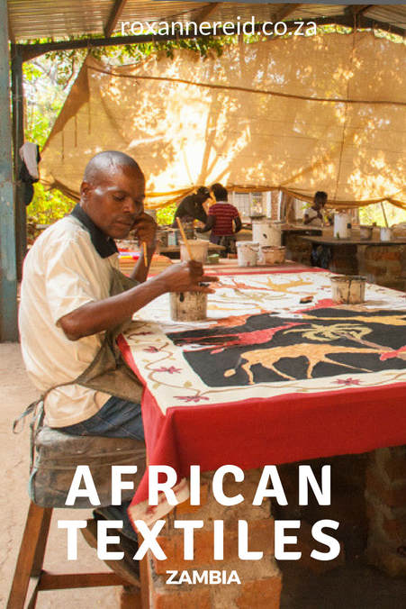 Hand-painted African textiles near Mfuwe town in Zambia #Africa #travel #art