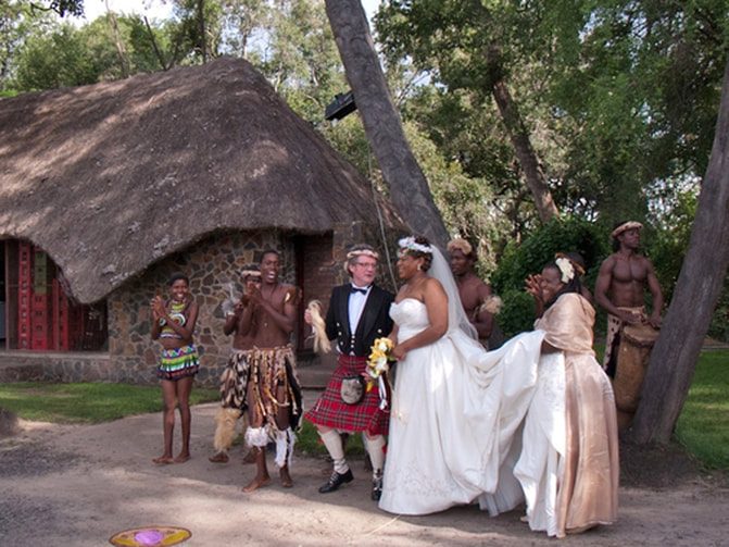 A wedding party at Victoria Falls, Zimbabwe
