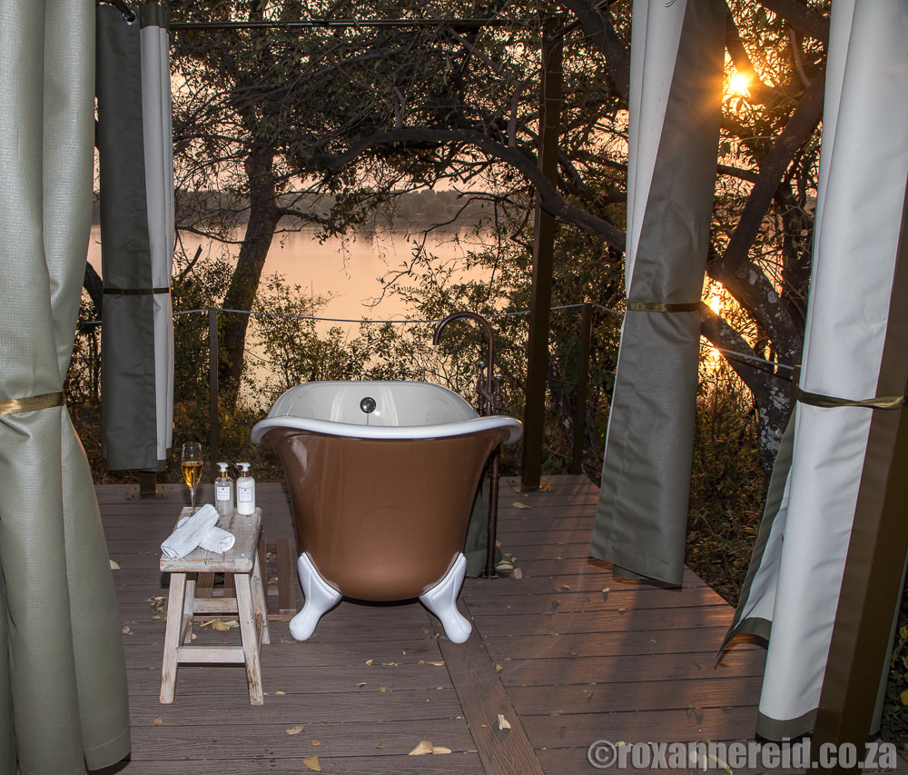 Outdoor bath, Old Drift Lodge, Victoria Falls Zimbabwe