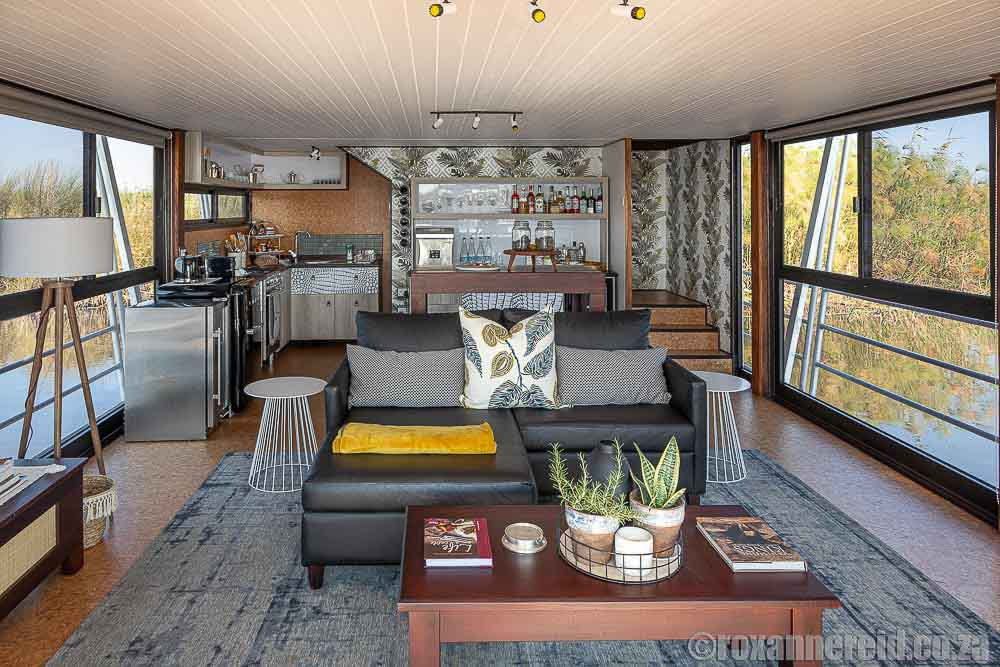 Inside the houseboat that is a Namibia lodge at Namushasha River Villa