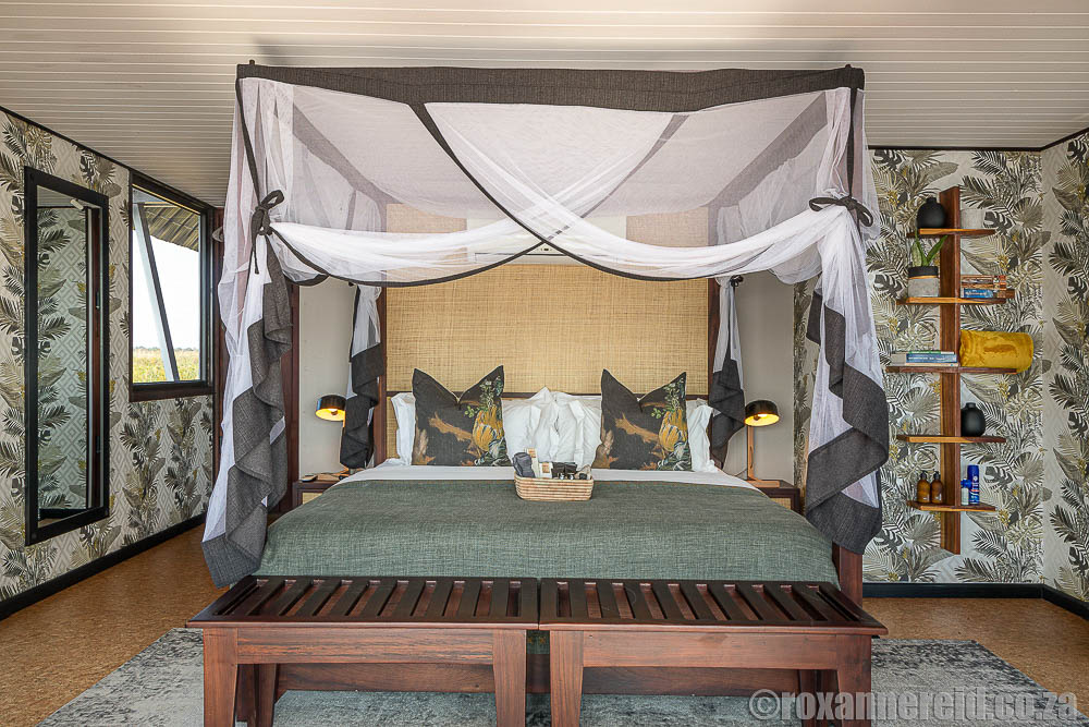 Bedroom at Namushasha River Villa which looks at on Bwabwata National Park, Namibia