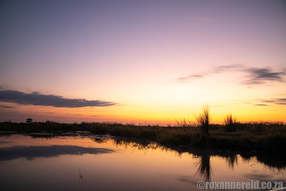 Sunset from a Caprivi houseboat: Namushasha River Villa