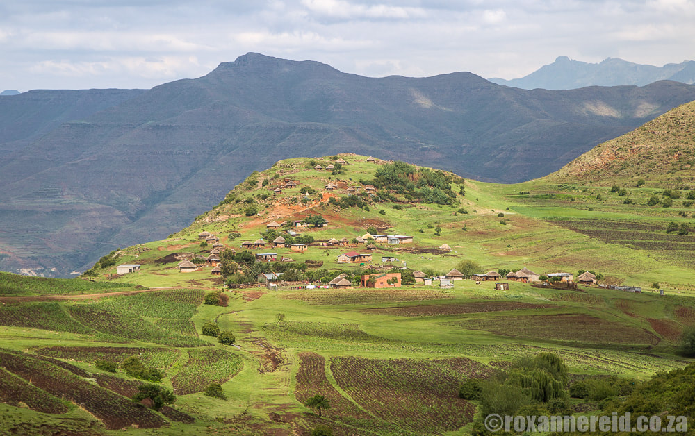Small settlements on the hillsides of Lesotho