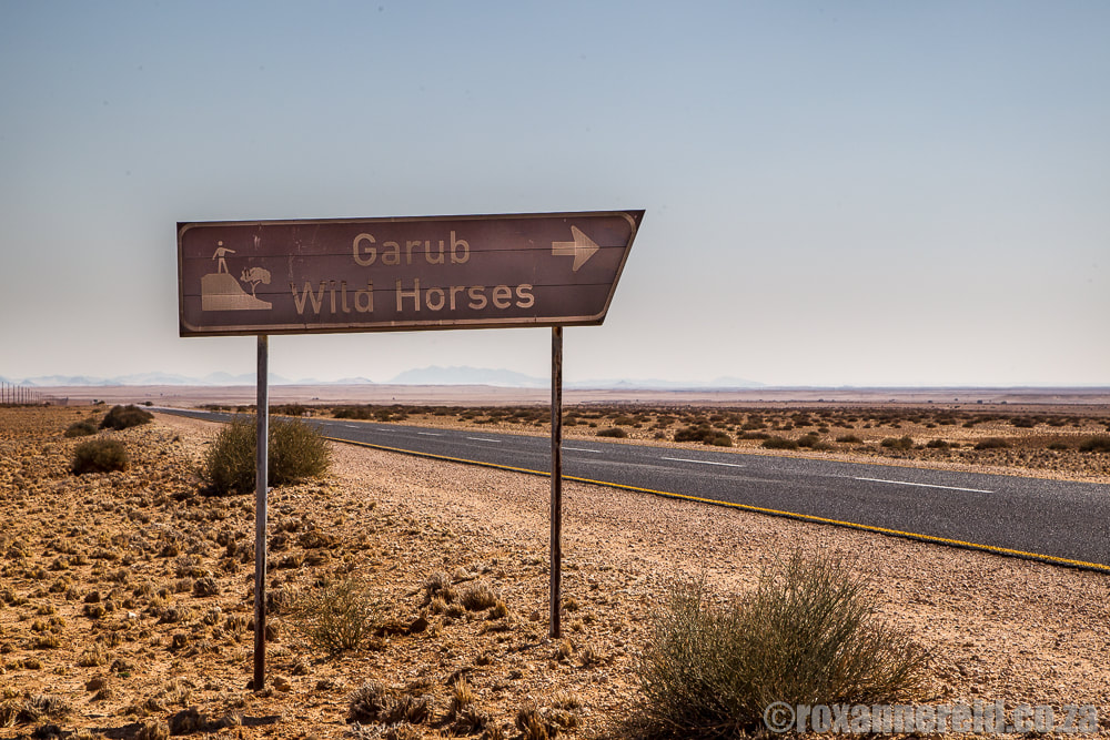 Signpost to the wild horses at Garub near Aus, Namibia